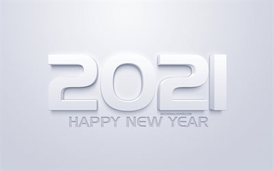 2021 New Year, 2021 3D white background, 2021 concepts, Happy New Year 2021, white background, creative 3D art, 2021 white background