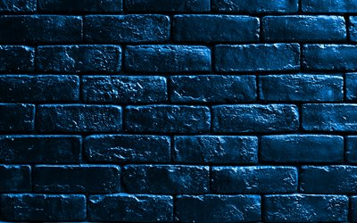 blue brickwall, 4k, blue bricks, bricks textures, brick wall, bricks background, blue stone background, identical bricks, bricks, blue bricks background