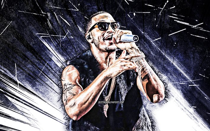 Trey Songz, blue abstract rays, 4k, american singer, music stars, Tremaine Aldon Neverson, american celebrity, grunge art, superstars, Trey Songz 4K