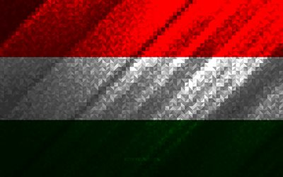 Flag of Hungary, multicolored abstraction, Hungary mosaic flag, Europe, Hungary, mosaic art, Hungary flag