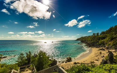 Bermuda, ocean coast, beach, sunset, evening, tropical islands, seascape