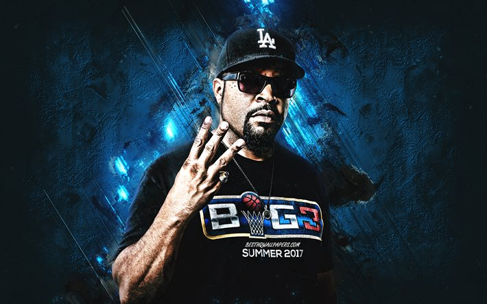 Ice Cube, american rapper, portrait, blue stone background, OShea Jackson, creative art