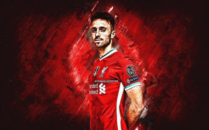 Download Wallpapers Diogo Jota Liverpool Fc Portuguese Footballer Midfielder Portrait Red Stone Background Premier League For Desktop Free Pictures For Desktop Free