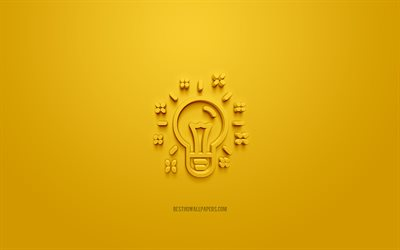 Idea 3d icon, yellow background, 3d symbols, Idea light bulb, creative 3d art, 3d icons, Idea sign, Business 3d icons