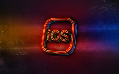 IOS logo, light neon art, IOS emblem, IOS neon logo, creative art, IOS