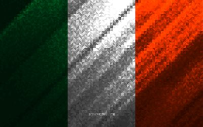 Flag of Ireland, multicolored abstraction, Ireland mosaic flag, Europe, Ireland, mosaic art, Ireland flag