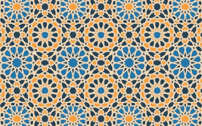 blue orange islamic texture, islamic background, flowers islamic texture, retro islamic texture, islamic pattern