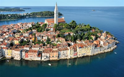 Rovinj, Adriatic Sea, resort, seascape, cityscape, Rovinj panorama, Istria, Croatia