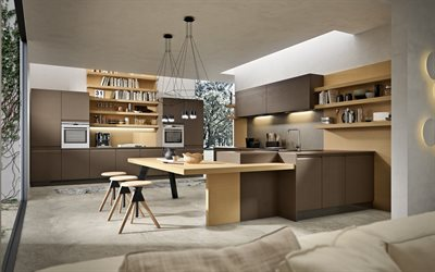 stylish kitchen interior design, brown furniture in the kitchen, modern interior design, kitchen, loft style, concrete floor in the kitchen