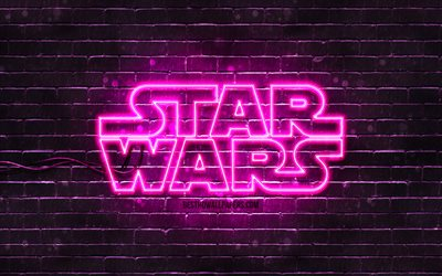 Star Wars purple logo, 4k, purple brickwall, Star Wars logo, creative, Star Wars neon logo, Star Wars