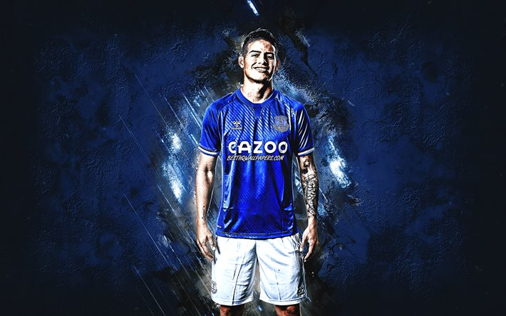 James Rodriguez, Colombian footballer, Everton FC, attacking midfielder, blue stone background, Premier League, football