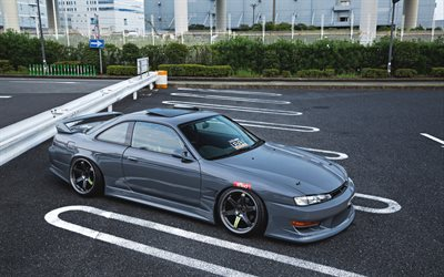 Nissan Silvia S14, JDM, gray sports coupe, tuning Silvia S14, gray Silvia, japanese sports cars