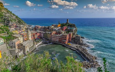 Vernazza, Liguria, Mediterranean Sea, beautiful city, resort, Vernazza panorama, Italy, La Spezia