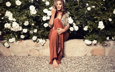 Stana Katic, photoshoot, 4k, l'actrice Canadienne, de roses blanches, robe brune, belle femme