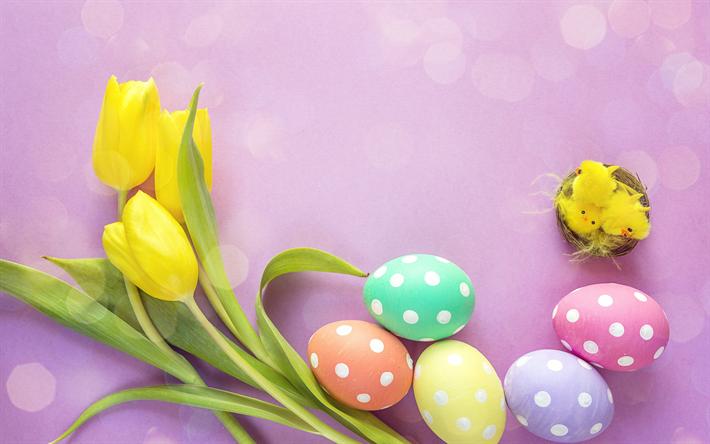 Ostern Hintergrundbilder Kostenlos herunterladen hintergrundbild frohe ostern gelbe tulpen bemalte