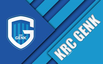 KRC GENK, 4k, Belgian football club, blue abstraction, logo, material design, Genk, Belgium, football, Jupiler Pro League