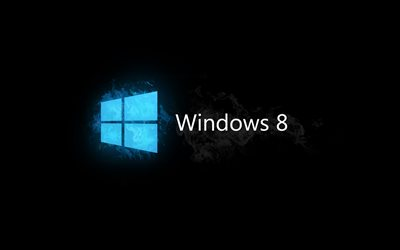 Windows 8, logo, sfondo nero, logo di Windows 8