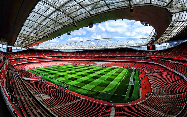 Download wallpapers Emirates Stadium, empty stadium, London, England,  soccer, Arsenal Stadium, football stadium, Arsenal FC, english stadiums,  HDR for desktop free. Pictures for desktop free