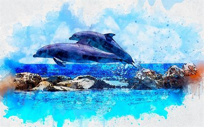 jumping dolphins, sea, summer, drawing art, dolphins, artwork