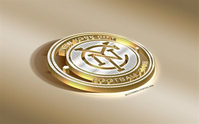 new york city fc in der amerikanischen fußball-club, golden, silber-logo, new york, usa, mls, 3d-goldenes emblem, kreative 3d-kunst, fußball, major league soccer