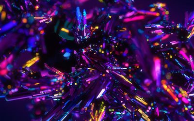 multicolored neon light crystals, neon abstract background, multicolored background, multicolored abstraction, colorful crystals