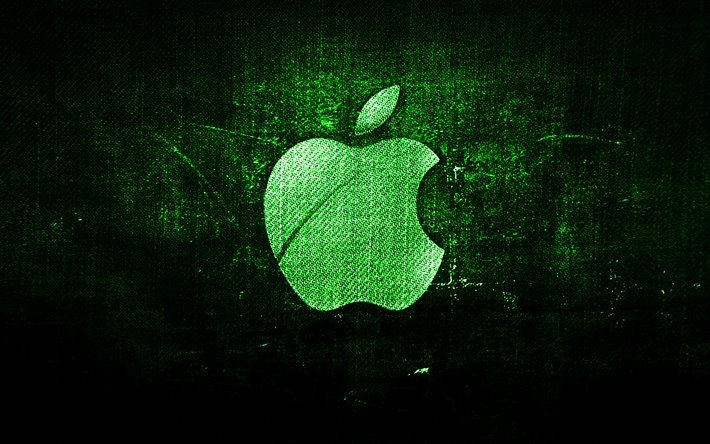apple green-logo, grün, hintergrund stoff, apple, creative, denim, logo, grunge, kunst, apple logo