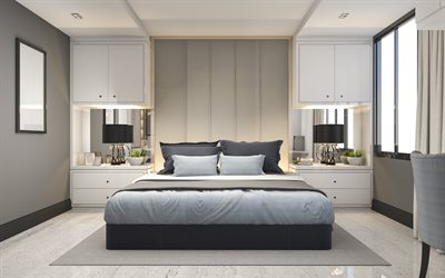 bedroom, gray style interior, modern bedroom interior design, black table lamps, stylish interior