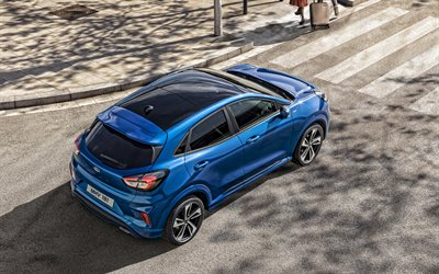 Ford Puma, 2020, rear view, exterior, blue compact crossover, new blue Puma, american cars, Ford