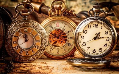 old clock, old pocket watch, time, gold watch, antique pocket watches