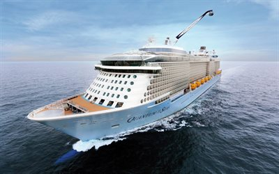 Quantum of the Sea, luxury passenger liner, white big ship, Caribbean Sea, waves