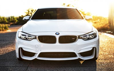 BMW M4, 2017, White M4, F83, front view, sports car, tuning m4, German cars, sports coupe, BMW