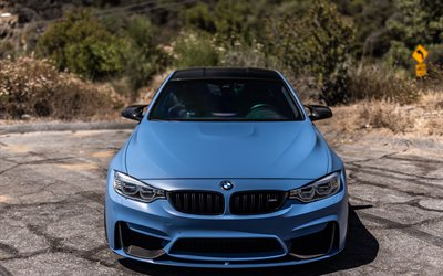 BMW M4, 2017, Blue M4, F83, 4k, front view, sports coupe, new m4, BMW