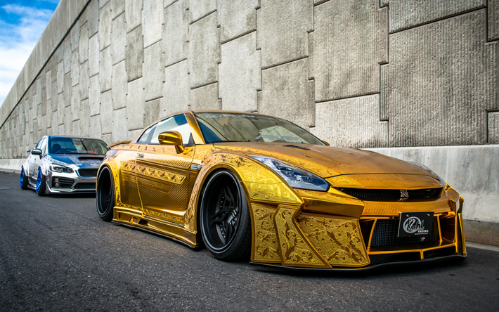 Download wallpapers Nissan GT-R, sports car, gold GT-R ...
