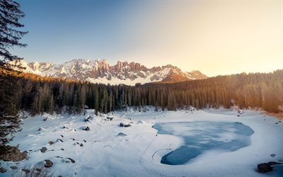 mountain lake, winter, snow, ice, frozen lake, Lake Carezza, South Tyrol, Dolomites mountains, Italy