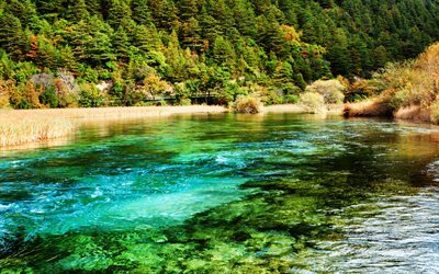 Jiuzhaigou National Park, autumn, river, blue water, China