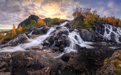 waterfall, autumn, water, rocks, Norway