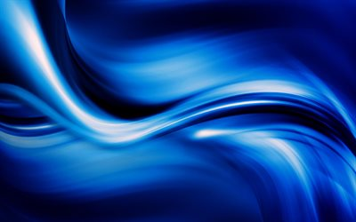 abstract waves, 4k, blue background, curves, art, abstract material, blue waves
