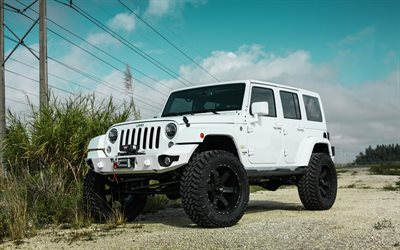 Jeep Wrangler, American SUV, tuning, White Jeep, Black Wheels