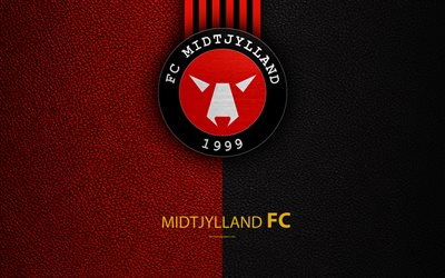 FC Midtjylland, 4k, logo, leather texture, Danish football club, Superligaen, football, Danish Superleague, Herning, Denmark, Ikast
