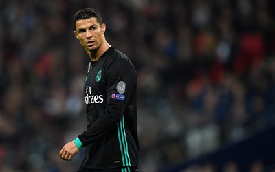 Cristiano Ronaldo, 4k, match, CR7, Real Madrid, La Liga, football stars, black uniform, Ronaldo, football, Galacticos, soccer
