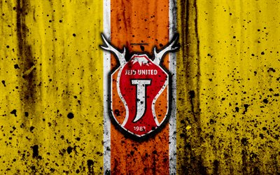 4k, Jeju United, grunge, yellow background, K-League Classic, soccer, football club, South Korea, FC Jeju United, art, stone texture, Jeju United FC