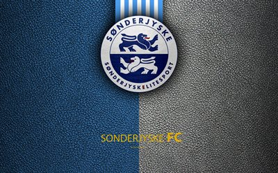 SonderjyskE FC, 4k, un logo, un cuir à la texture, danois, club de football, Superligaen, le football, le danois Superleague, Haderslev, Danemark
