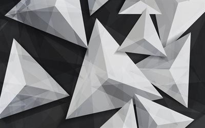 triangles, 4k, 3d art, geometry, geometric shapes, gray background
