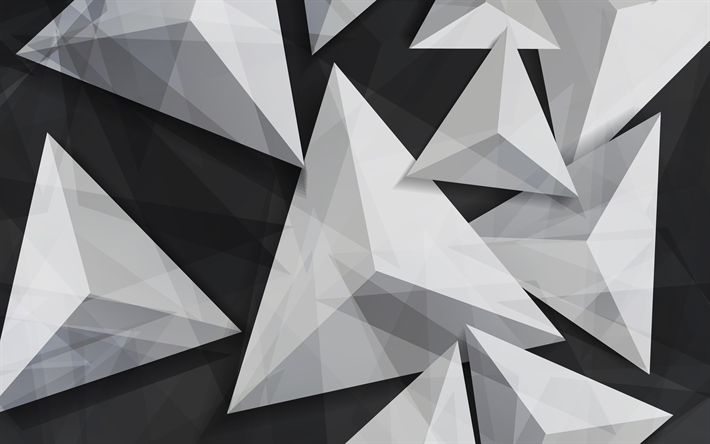 Download Wallpapers Triangles, 4k, 3d Art, Geometry
