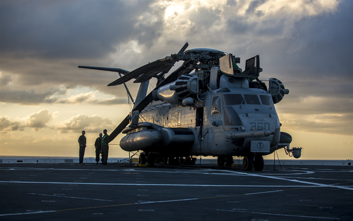 Sikorsky CH-53E Super Stallion, heavy military helicopter, US Navy, deck of aircraft carrier, evening, sunset, military helicopters, USA, US Marine Corps, CH-53E