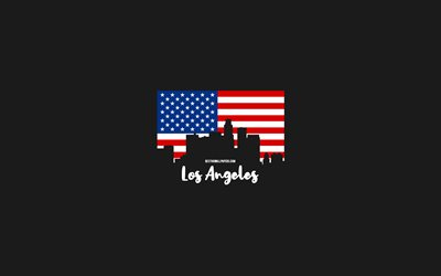 Los Angeles, American cities, Los Angeles silhouette skyline, USA flag, Los Angeles cityscape, American flag, USA, Los Angeles skyline
