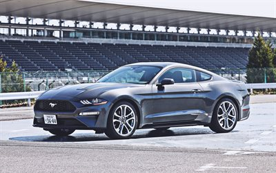 ford mustang ecoboost fastback, supersportwagen, 2020 autos, jp-spezifikation, grauer ford mustang, 2020 ford mustang, ford