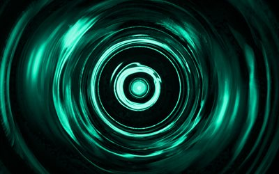 turquoise spiral background, 4K, turquoise vortex, spiral textures, 3D art, turquoise waves background, wavy textures, turquoise backgrounds