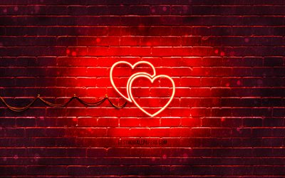 Two Hearts neon icon, 4k, red background, neon symbols, Two Hearts, neon icons, Two Hearts sign, love signs, Two Hearts icon, love icons, love concepts