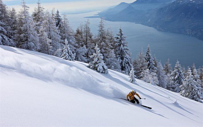 Scarica Sfondi Lo Sci Da Discesa Sci Montagna Neve Inverno Per